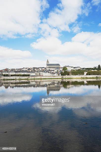 France, Blois, View of Jacques Gabriel bridge and Saint Louis cathedral