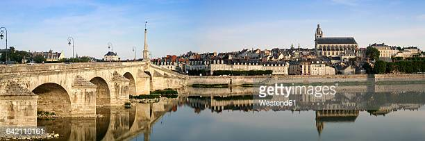 france, blois, view to the city with jacques gabriel bridge and saint-louis cathedral - loir et cher stock pictures, royalty-free photos & images