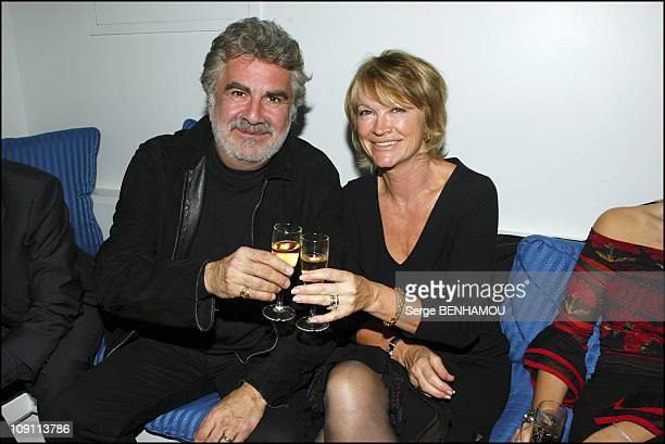 France. Boissons Party At L'Amnesia. On October 8, 2003 In Paris, France. Roland Magdane And His Wife