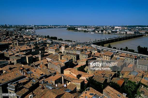 France Bordeaux Overview Of City Garonne River