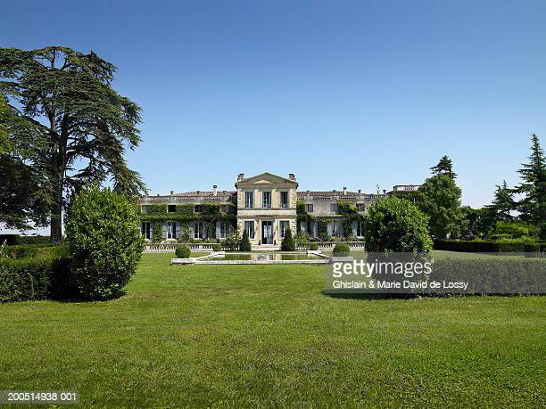 france, bordeaux, sainte ferme, chataeu, view from lawn - stately home stock pictures, royalty-free photos & images