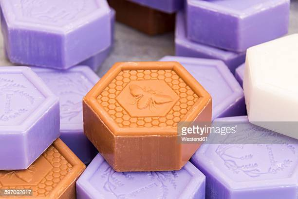 France, Bormes-les-Mimosas, hand made soaps on street market