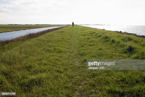 France, Bouin, Vendee, flood barrier.