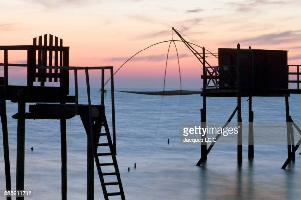 France, Bourgneuf Bay, Les Moutiers-en-Retz, fisheries, twilight.