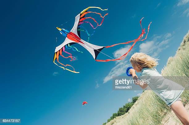 France, Brittany, Cap Frehel, Cote dEmeraude, boy flying kite in beach dune