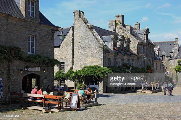 France Brittany in the medieval village Locronan houses on the market square Church Square