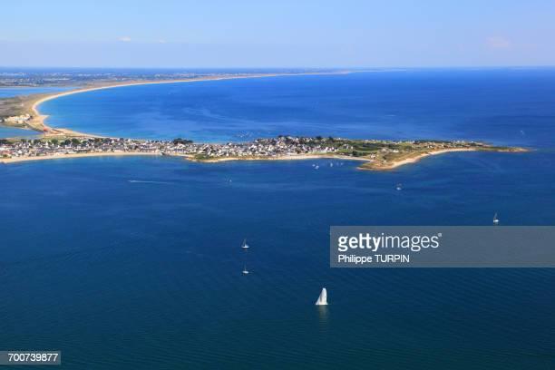 France, Brittany, Morbihan. Aerial view. Gavres peninsula