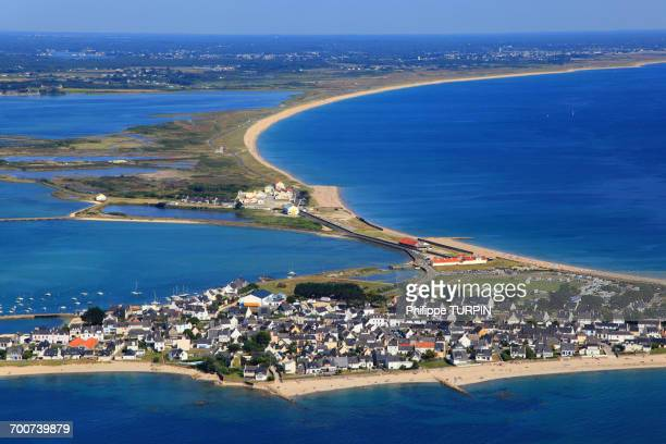 france, brittany, morbihan. aerial view. gavres peninsula - loire atlantique photos et images de collection