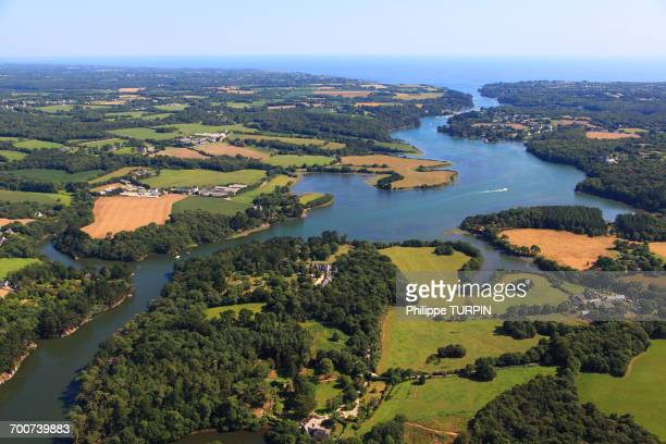 france, brittany, morbihan. aerial view. the aven river. - golfe du morbihan photos et images de collection