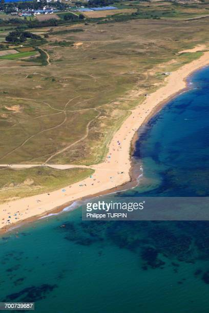 france, brittany, morbihan. gavres peninsula. aerial view. - loire atlantique stock pictures, royalty-free photos & images
