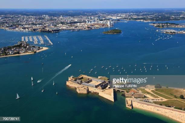 france, brittany, morbihan. lorient. port louis citadel. aerial view. - golfe du morbihan photos et images de collection