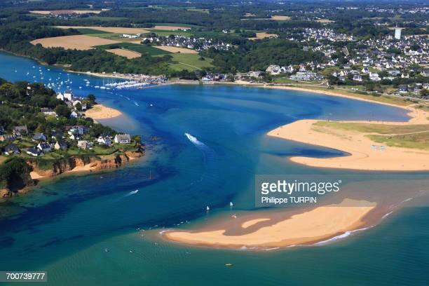 france, brittany, morbihan. moelan sur mer. guidel plages. aerial view. - golfe du morbihan photos et images de collection