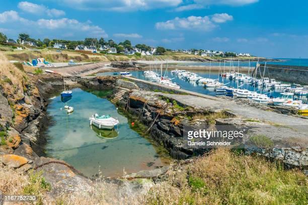 france, brittany, rhuys peninsula, saint-gildas-derhuys, port aux moines marina - golfe du morbihan photos et images de collection