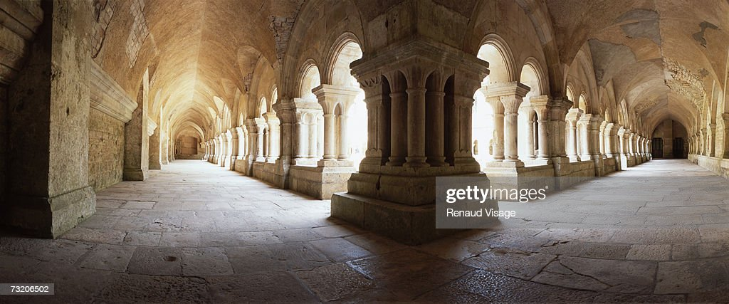France, Burgundy, Fontenay Abbey cloister : Stock Photo