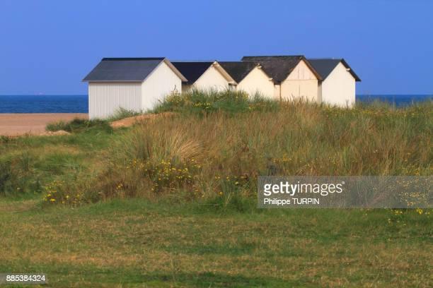 france, calvados (14), cote de nacre, ouistreham. riva-bella. beach huts. - ouistreham stock pictures, royalty-free photos & images