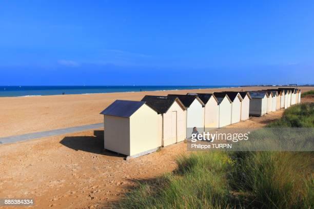 France, Calvados, Ouistreham. Beach huts. Riva-Bella.