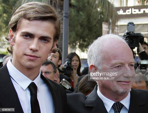 Canadian Hayden Christensen and British actor Ian McDiarmid pose for photographers as they arrive for the screening of US director George Lucas' film...