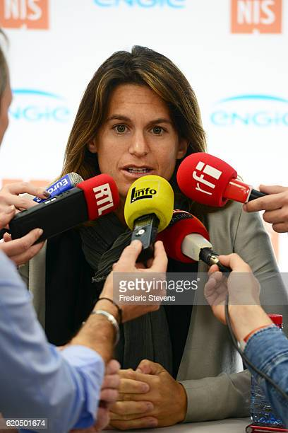 France captain Amelie Mauresmo announces France Tennis team for the Fed Cup final at Palais Omnisports de Bercy on November 2 2016 in Paris France...