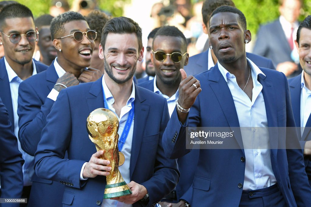 French President Emmanuel Macron Receives The France Football Team At Elysee Palace