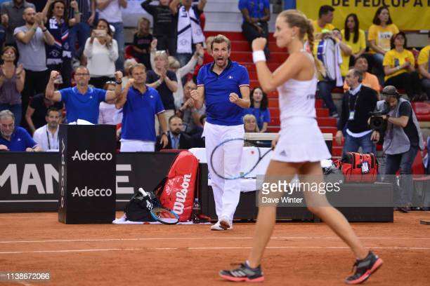 France captain Julien Benneteau during the Fed Cup semifinal between France and Romania on April 21 2019 in Rouen France