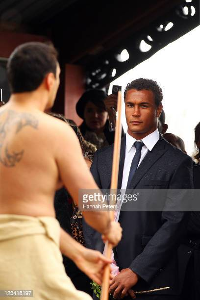 France captain Thierry Dusautoir is welcomed by a Maori warrior during the official IRB Rugby World Cup 2011 French team welcome ceremony at Orakei...