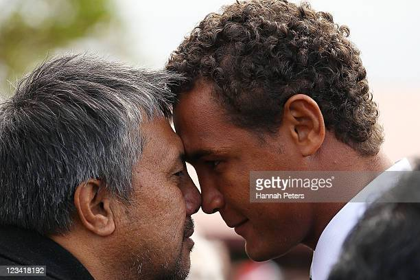 France captain Thierry Dusautoir receives a traditional Maori hongi during the official IRB Rugby World Cup 2011 French team welcome ceremony at...