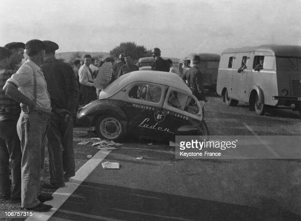 france  car crash scene  a badly damaged renault 4 cv in 1956  news photo