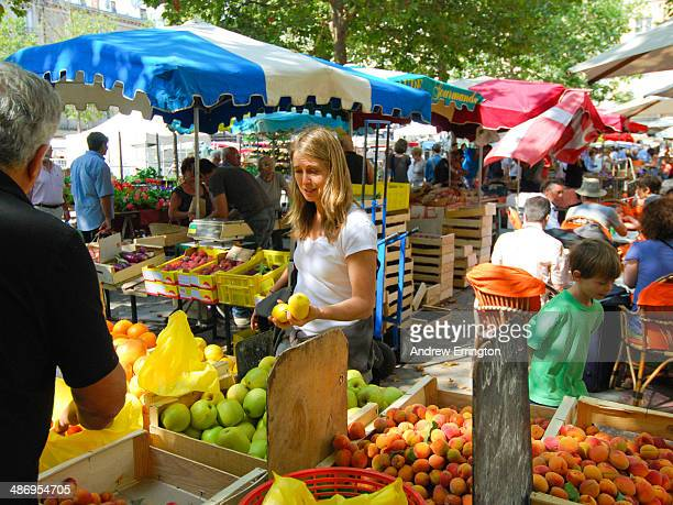 France Carcassonne woman at fruit stall