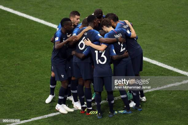 France celebrate after Antoine Griezmann scores his side's second goal of the gameduring the 2018 FIFA World Cup Russia Final between France and...