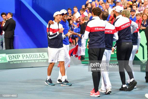 France celebrate after taking an unassailable 30 lead during Day 2 of the Davis Cup semi final on September 15 2018 in Lille France