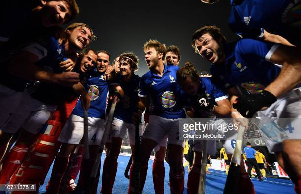 France celebrate after the FIH Men's Hockey World Cup crossover elimination match between France and China at Kalinga Stadium on December 10 2018 in...