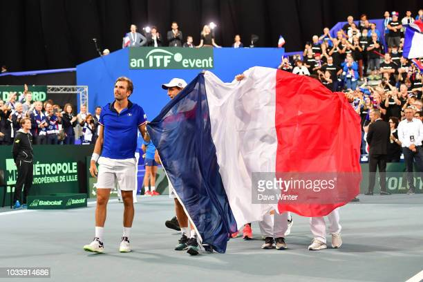 France celebrate during Day 2 of the Davis Cup semi final on September 15 2018 in Lille France