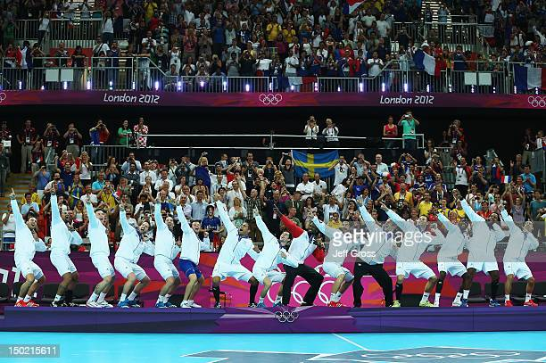 France celebrate on the podium after winning the gold medal against Sweden during the Men's Handball Gold Medal Match on Day 16 of the London 2012...