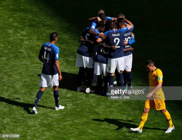 France celebrate their side's first goal a penalty scored by Antoine Griezmann of France during the 2018 FIFA World Cup Russia group C match between...