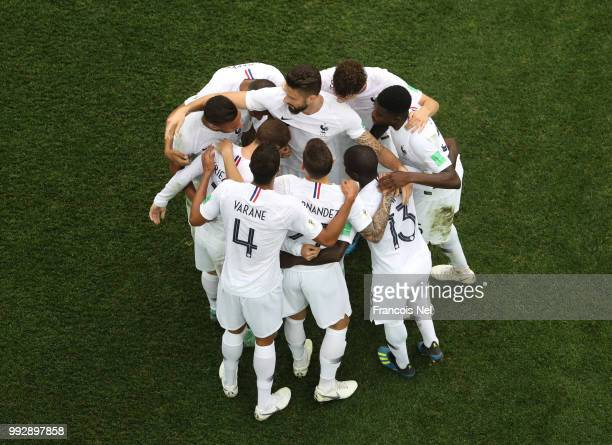France celebrate their side's second goal scored by Antoine Griezmann during the 2018 FIFA World Cup Russia Quarter Final match between Uruguay and...