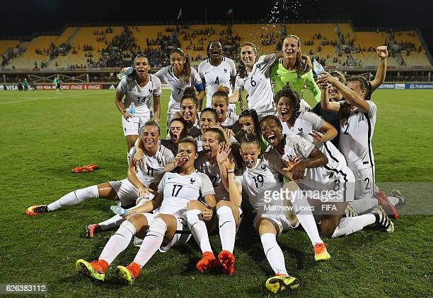 France celebrate their win over Japan after the FIFA U-20 Women's World Cup Papua New Guinea 2016 Semi Final match between Japan and France at Sir...
