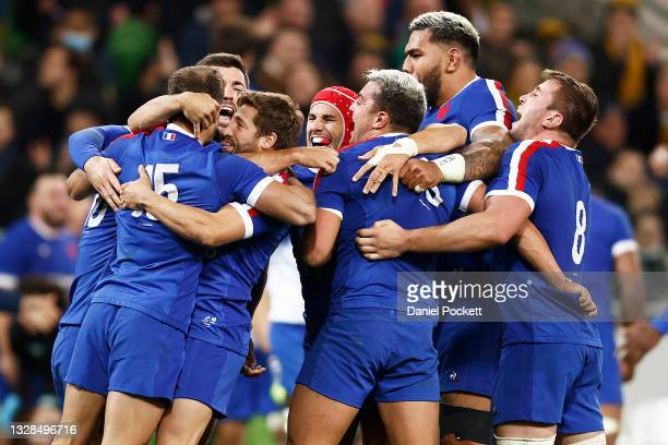 France celebrate victory after winning the International Test match between the Australian Wallabies and France at AAMI Park on July 13, 2021 in...