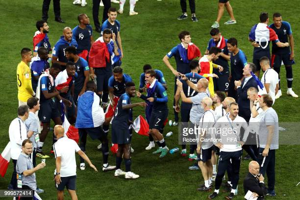France celebrate victory following the 2018 FIFA World Cup Final between France and Croatia at Luzhniki Stadium on July 15 2018 in Moscow Russia