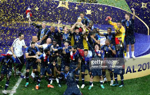 France celebrate with the trophy after winning the FIFA World Cup Final at the Luzhniki Stadium, Moscow.