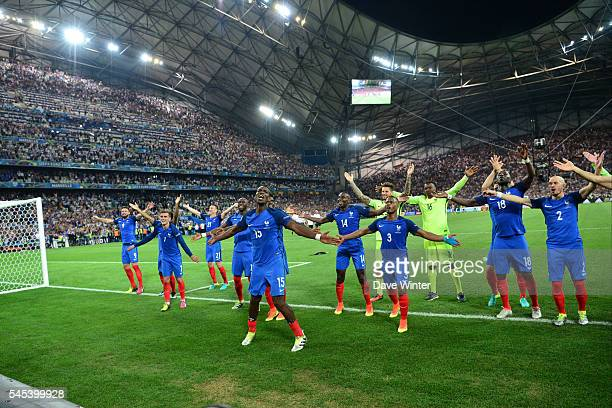 France celebrate with their fans after winning tthe Uefa Euro Semi final between France and Germany at Stade Velodrome at Stade Velodrome on July 7...
