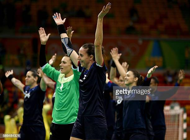 France celebrates their win over Sweden on Day 9 of the Rio 2016 Olympic Games at the Future Arena on August 14, 2016 in Rio de Janeiro, Brazil.