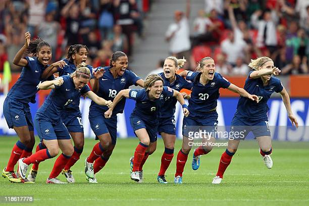 France celebrates winning 54 after penalty shootout after the FIFA Women's World Cup 2011 Quarter Final match between England and France at the FIFA...