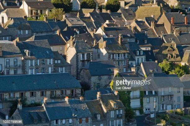 france, center france, cantal, houses of pierrefort, small town between truyere and aubrac - cantal stock pictures, royalty-free photos & images