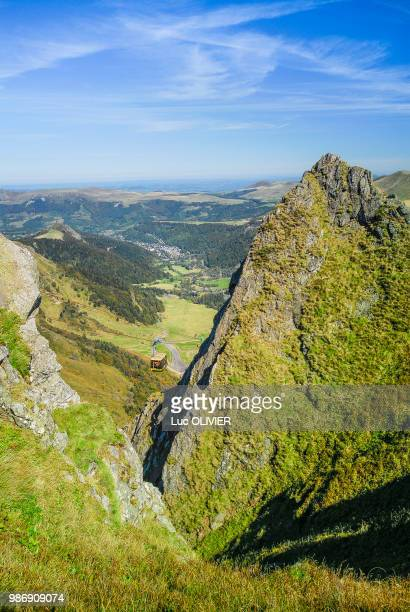 france, central france, mont dore, cable car - auvergne stock pictures, royalty-free photos & images