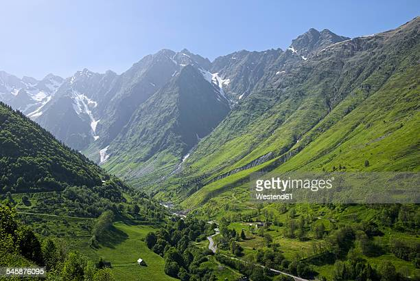 france, central pyrenees, hautes-pyrenees, view to mountain road - hautes pyrenees stock pictures, royalty-free photos & images