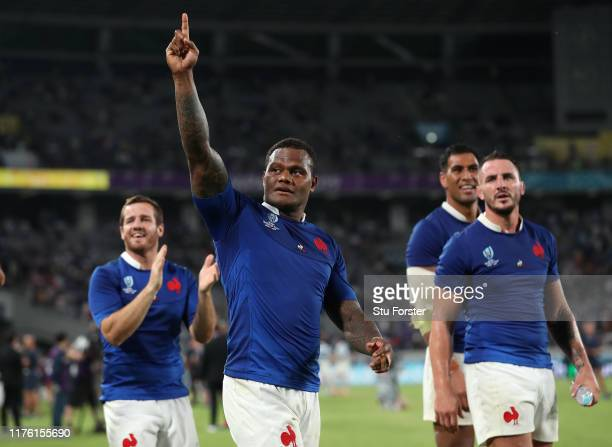 France centre Virimi Vakatawa celebrates after the Rugby World Cup 2019 Group C game between France and Argentina at Tokyo Stadium on September 21,...