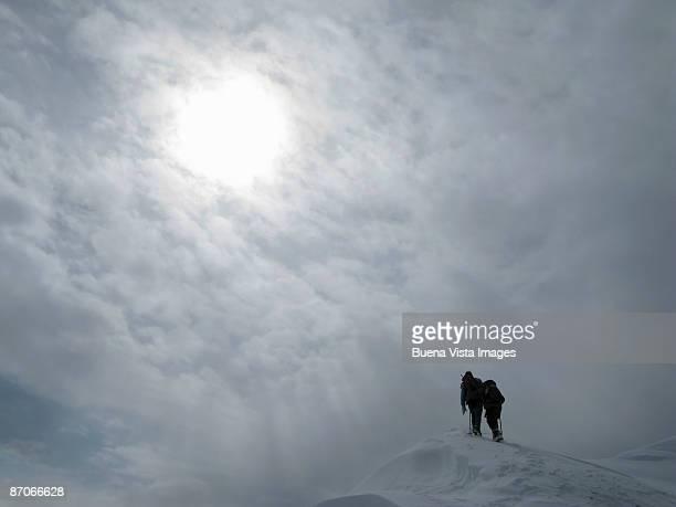 France. Chamonix. Climbers ascending Mount Blanc.