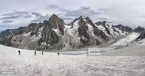 France, Chamonix, Grands Montets, Aiguille d Argentiere, Aiguille du Chardonnet, group of mountaineers