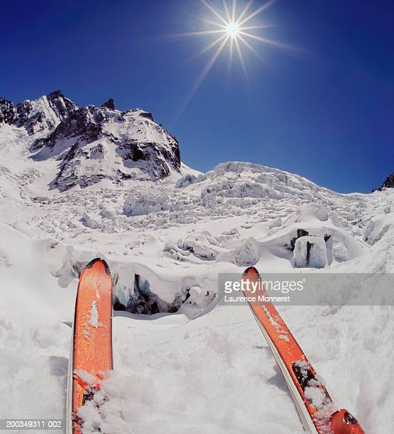 france, chamonix, vallee blanche glacier, skier on peak, close-up - blanche vallee stock photos and pictures