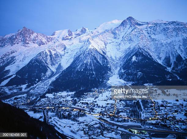 France, Chamonix Valley, Les Houches Village and Mt. Blanc